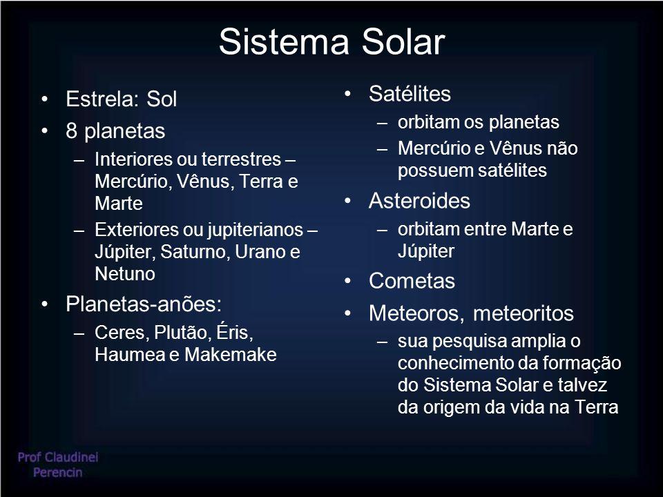 Sistema Solar Satélites Estrela: Sol 8 planetas Asteroides Cometas