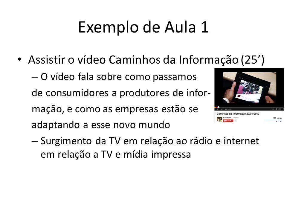 Exemplo de Aula 1 Assistir o vídeo Caminhos da Informação (25')