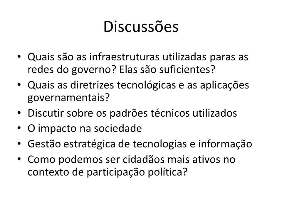 Discussões Quais são as infraestruturas utilizadas paras as redes do governo Elas são suficientes