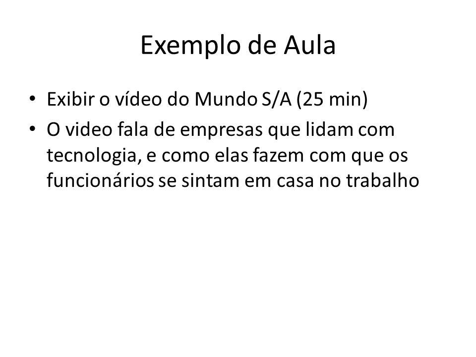 Exemplo de Aula Exibir o vídeo do Mundo S/A (25 min)