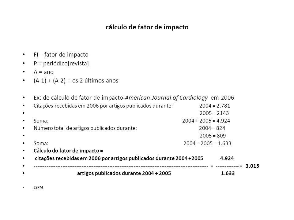 cálculo de fator de impacto