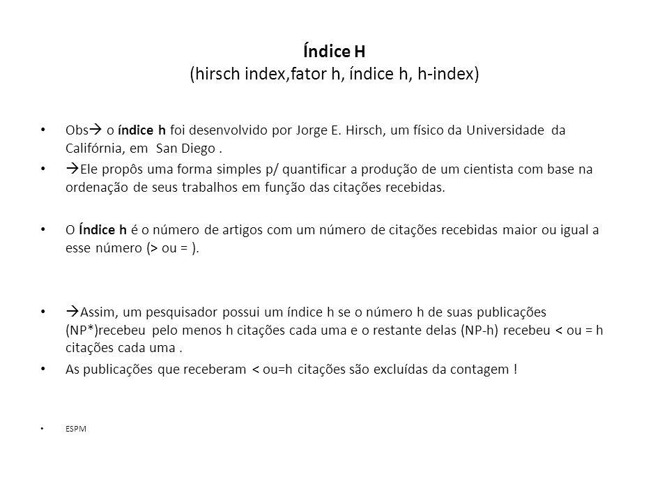 Índice H (hirsch index,fator h, índice h, h-index)