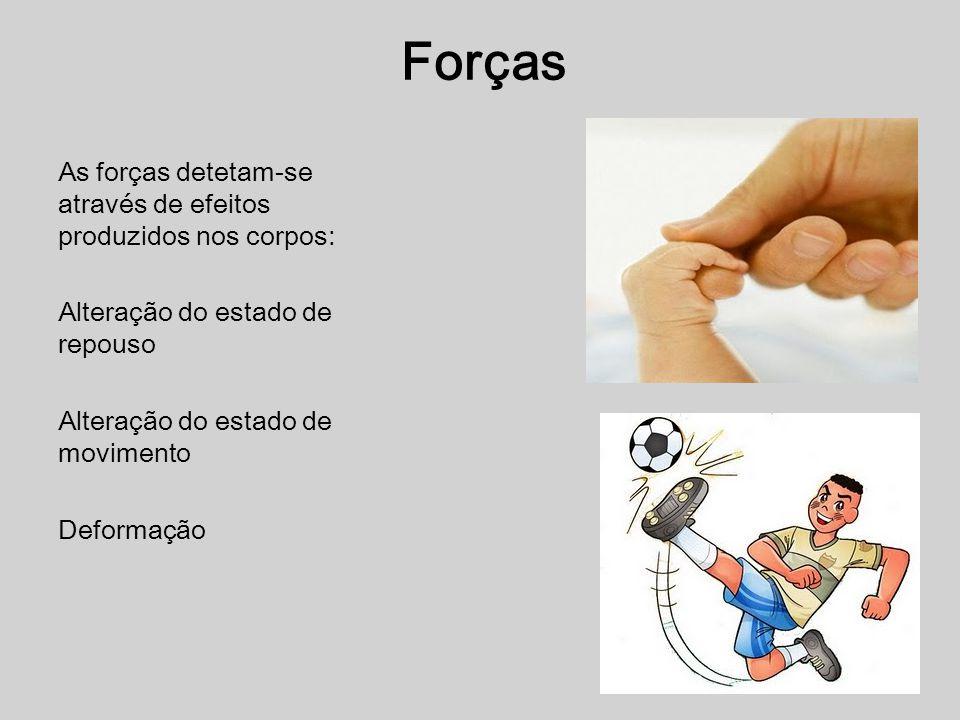 Forças As forças detetam-se através de efeitos produzidos nos corpos: