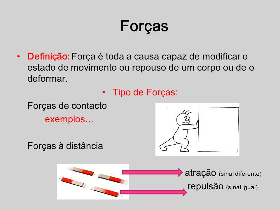 Forças Definição: Força é toda a causa capaz de modificar o estado de movimento ou repouso de um corpo ou de o deformar.