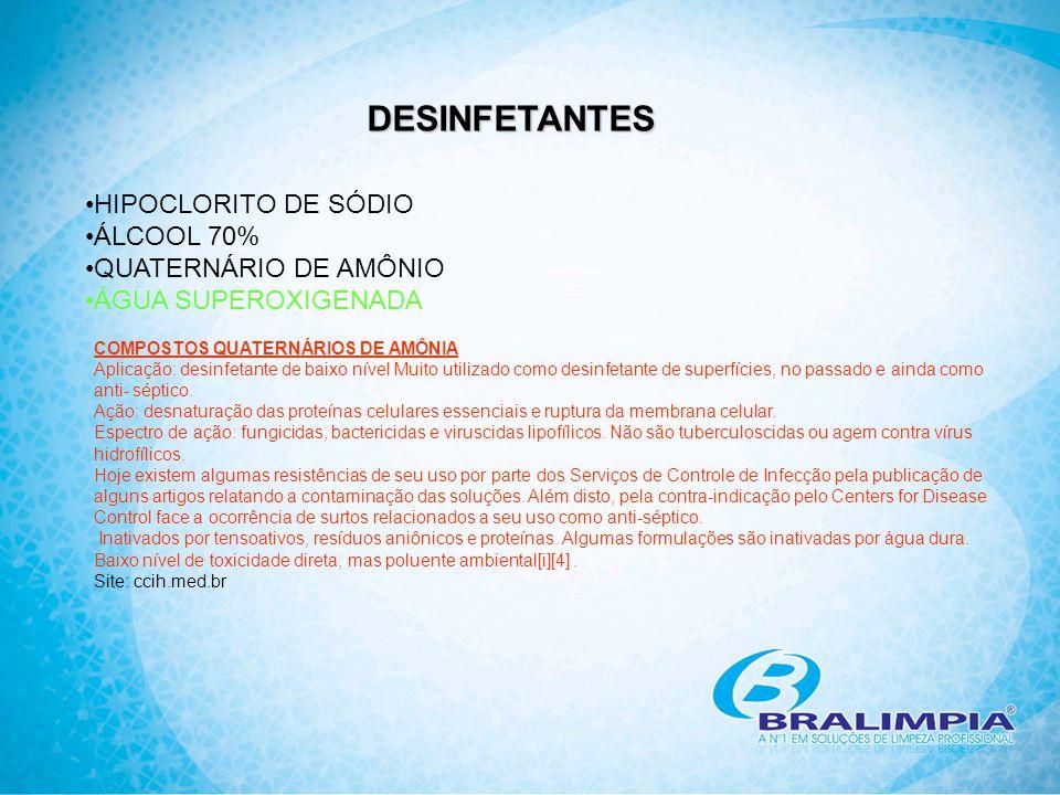 DESINFETANTES HIPOCLORITO DE SÓDIO ÁLCOOL 70% QUATERNÁRIO DE AMÔNIO
