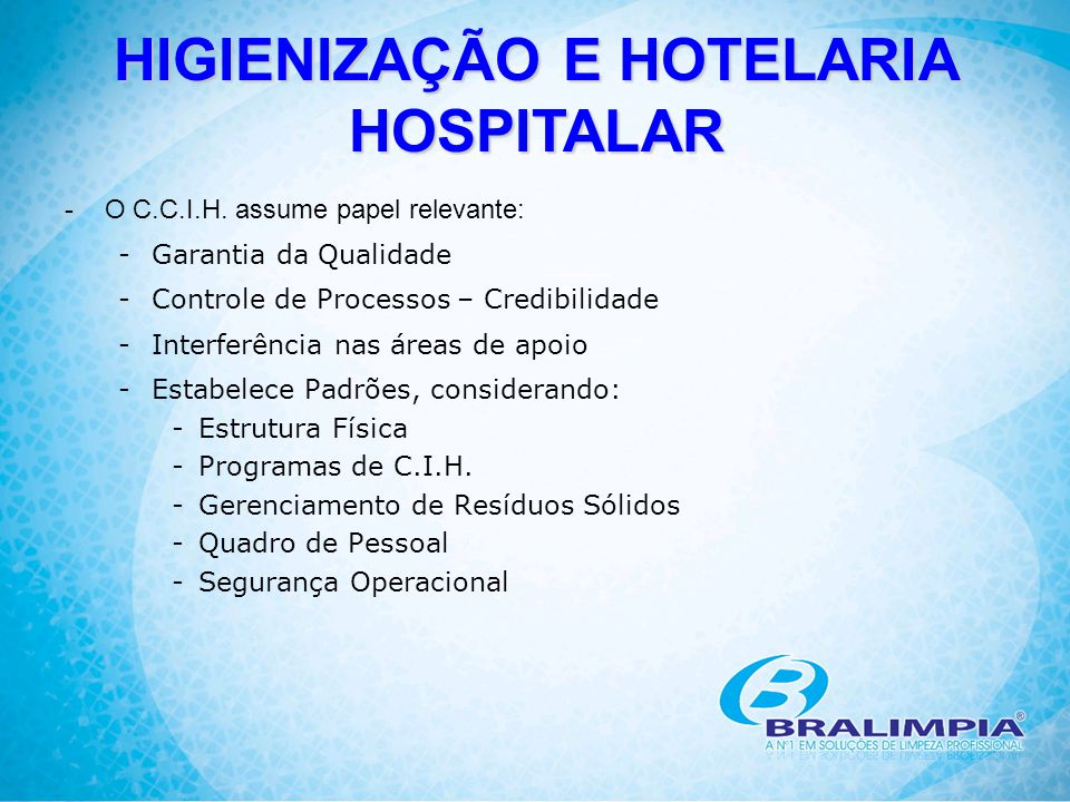 HIGIENIZAÇÃO E HOTELARIA