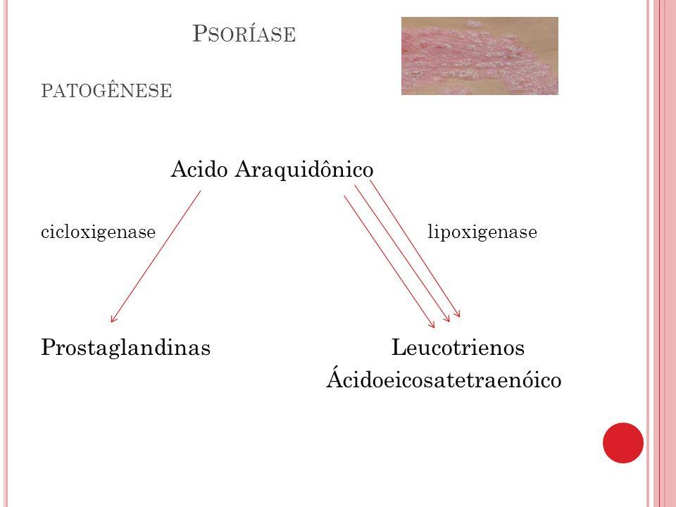 Psoríase patogênese Acido Araquidônico Prostaglandinas Leucotrienos