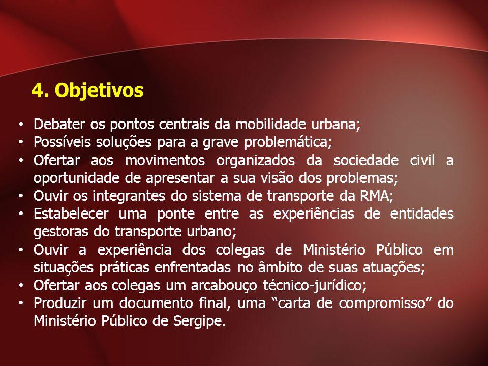 4. Objetivos Debater os pontos centrais da mobilidade urbana;