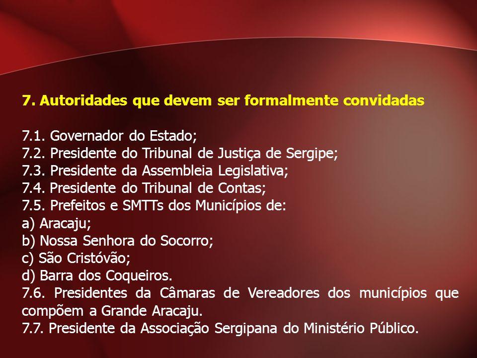 7. Autoridades que devem ser formalmente convidadas