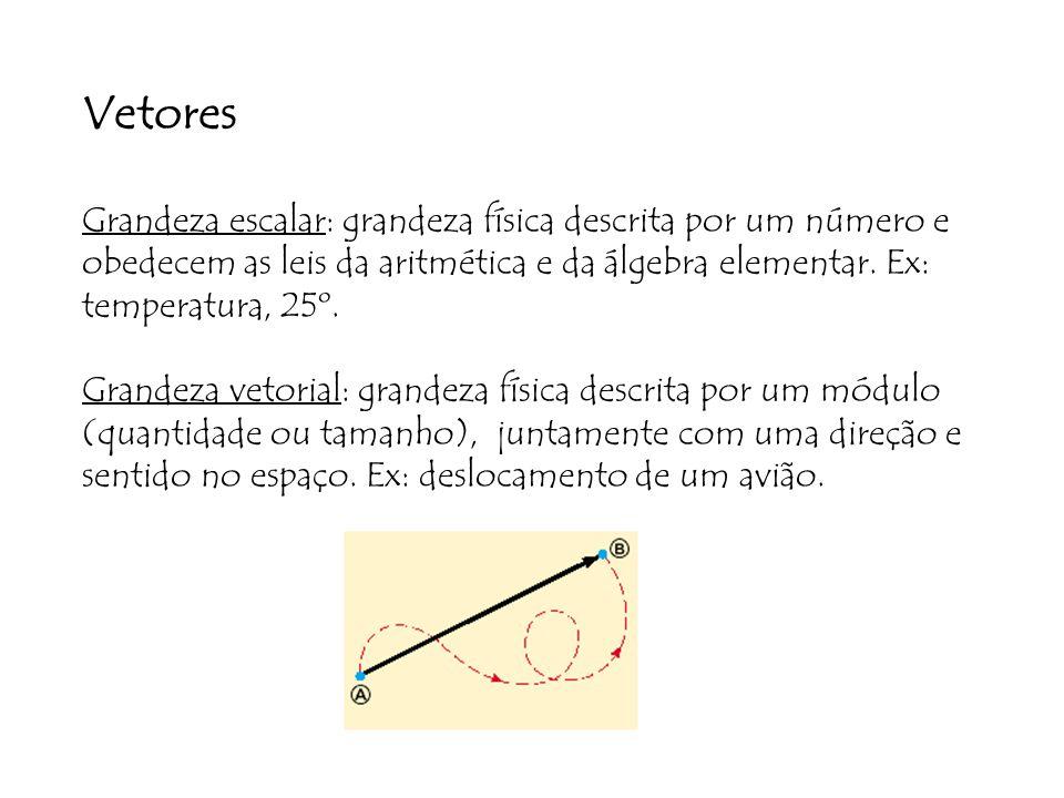 Vetores Grandeza escalar: grandeza física descrita por um número e obedecem as leis da aritmética e da álgebra elementar. Ex: temperatura, 25º.