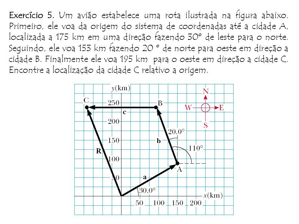 Exercício 5. Um aviáo estabelece uma rota ilustrada na figura abaixo
