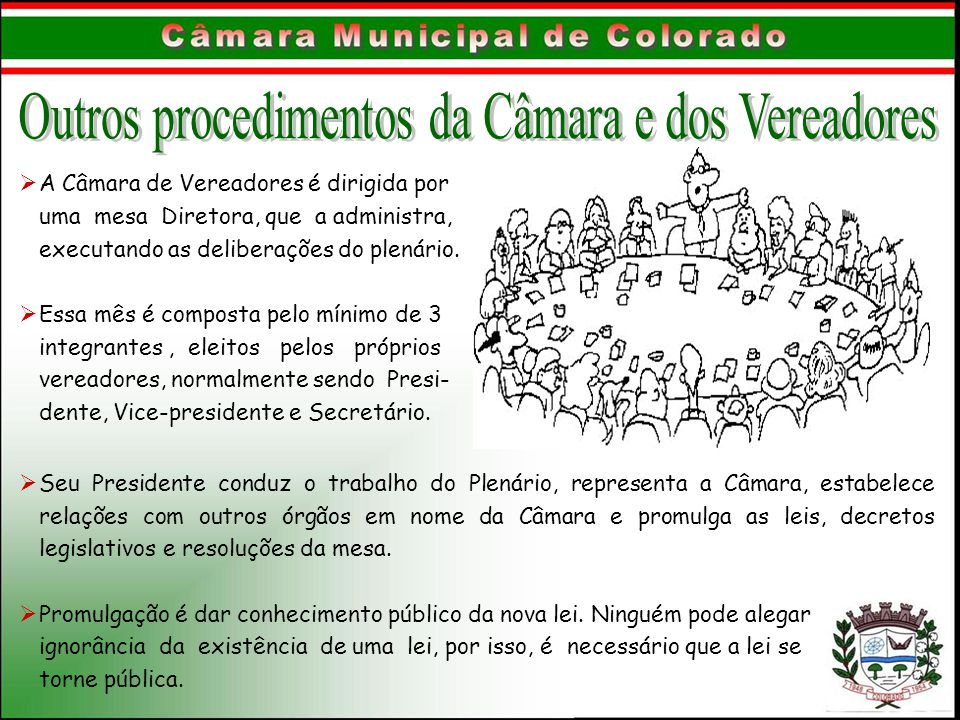 Outros procedimentos da Câmara e dos Vereadores