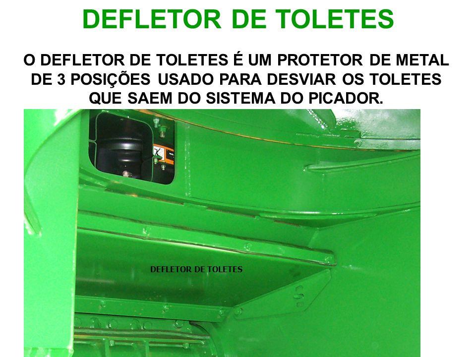 DEFLETOR DE TOLETES O DEFLETOR DE TOLETES É UM PROTETOR DE METAL DE 3 POSIÇÕES USADO PARA DESVIAR OS TOLETES QUE SAEM DO SISTEMA DO PICADOR.