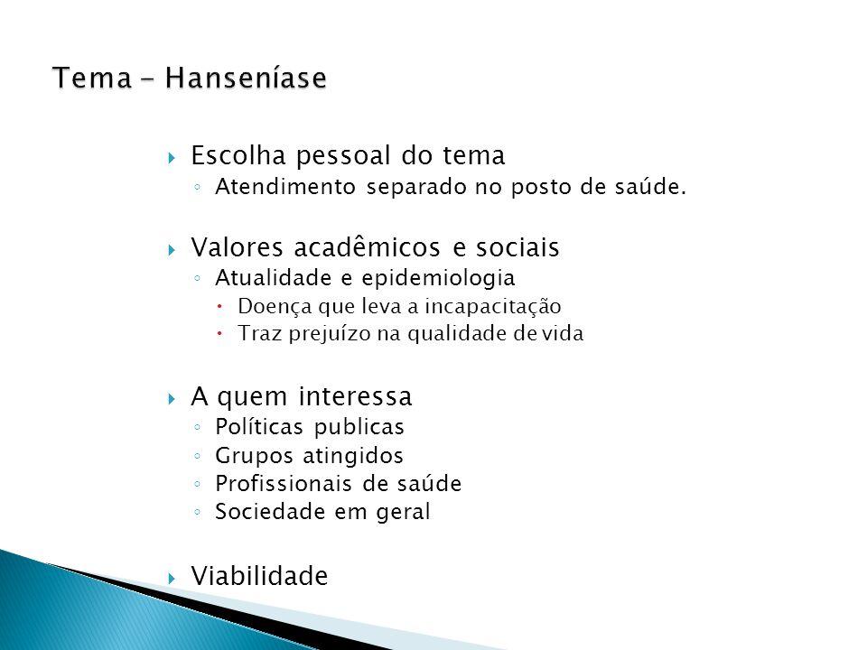 Tema - Hanseníase Escolha pessoal do tema Valores acadêmicos e sociais