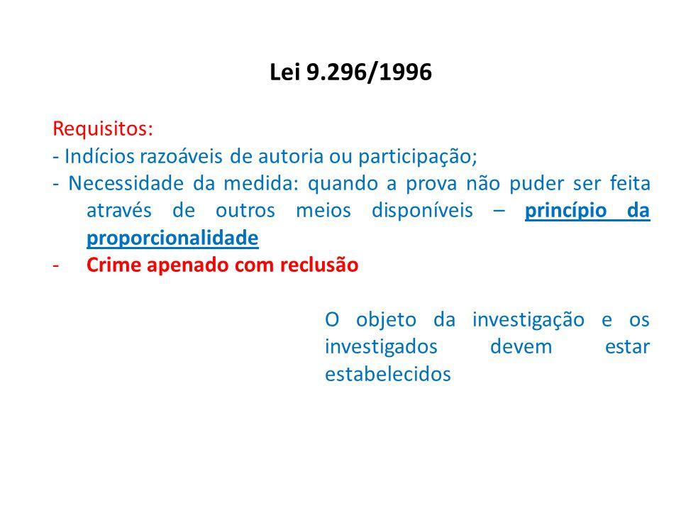 Lei 9.296/1996 Requisitos: - Indícios razoáveis de autoria ou participação;