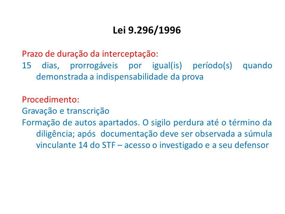 Lei 9.296/1996 Prazo de duração da interceptação: