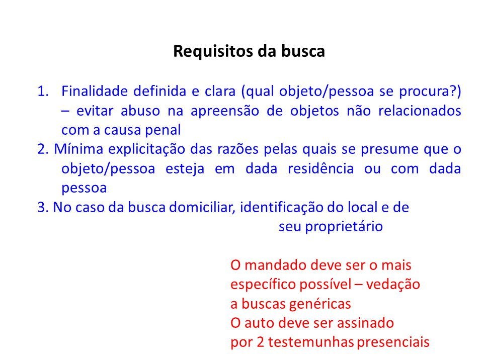 Requisitos da busca