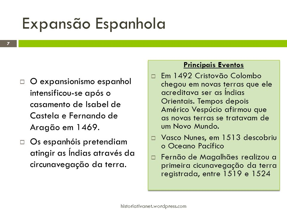 Expansão Espanhola Principais Eventos.