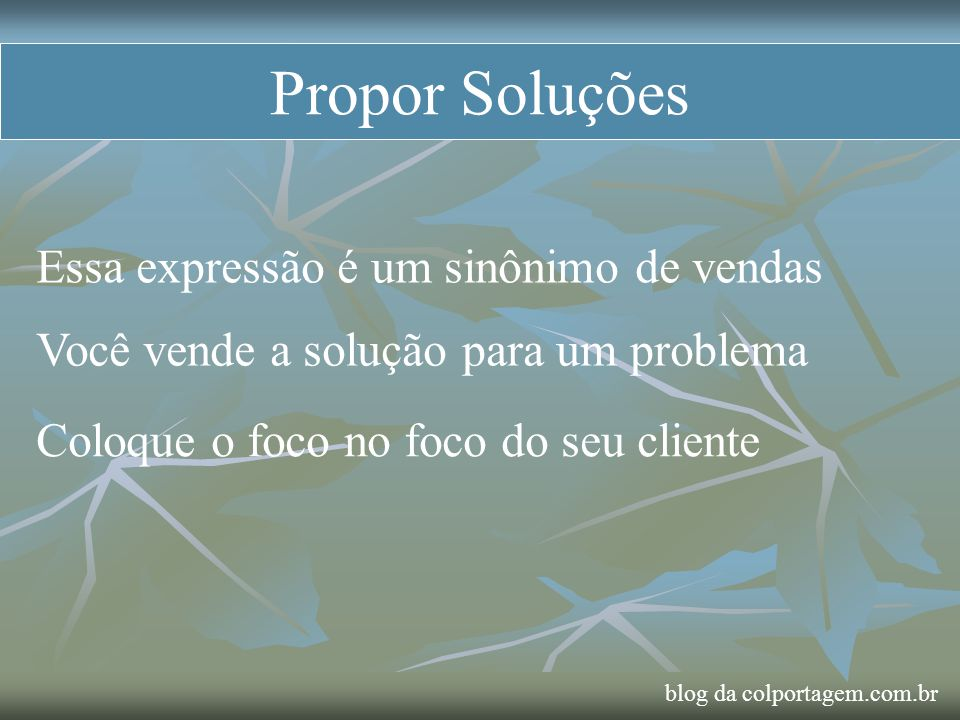 Propor Soluções Essa expressão é um sinônimo de vendas