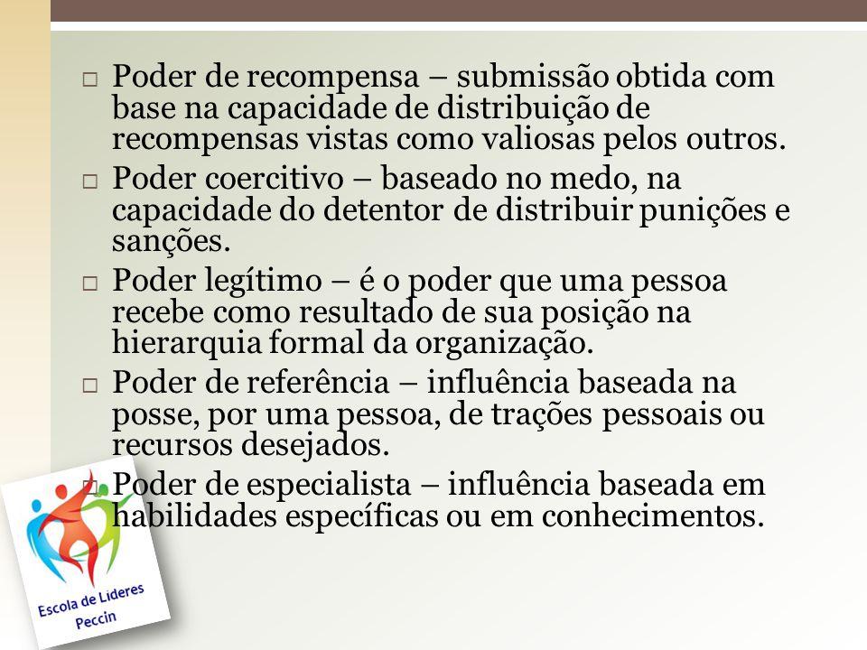 Poder de recompensa – submissão obtida com base na capacidade de distribuição de recompensas vistas como valiosas pelos outros.