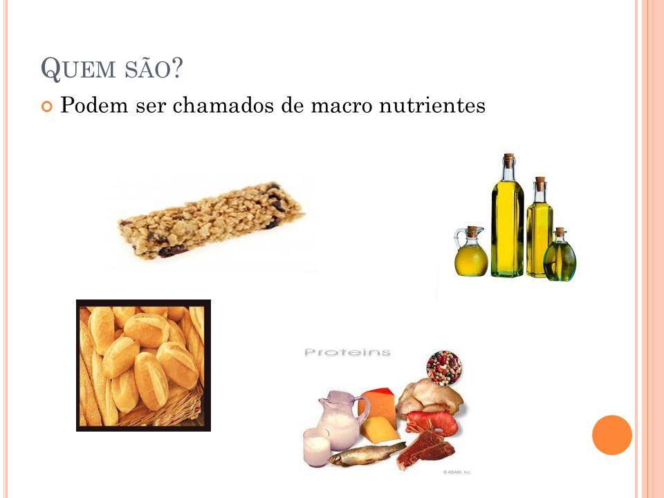 Quem são Podem ser chamados de macro nutrientes