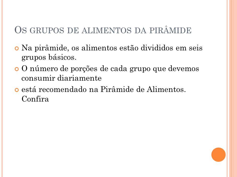 Os grupos de alimentos da pirâmide