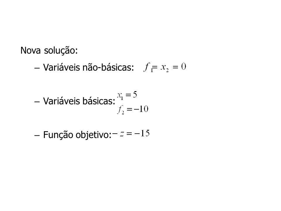 Nova solução: Variáveis não-básicas: Variáveis básicas: Função objetivo: