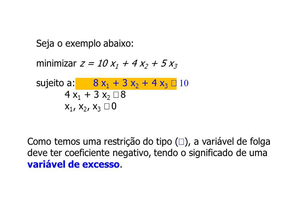 Seja o exemplo abaixo: minimizar z = 10 x1 + 4 x2 + 5 x3