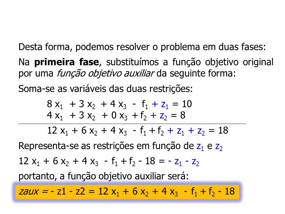 Desta forma, podemos resolver o problema em duas fases: