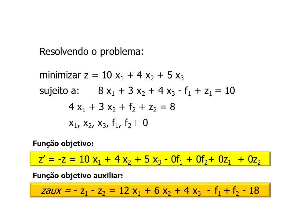 zaux = - z1 - z2 = 12 x1 + 6 x2 + 4 x3 - f1 + f2 - 18