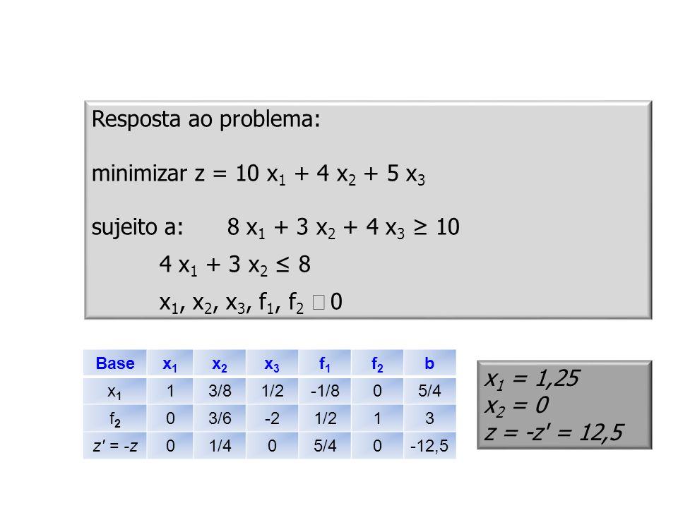 Resposta ao problema: minimizar z = 10 x1 + 4 x2 + 5 x3