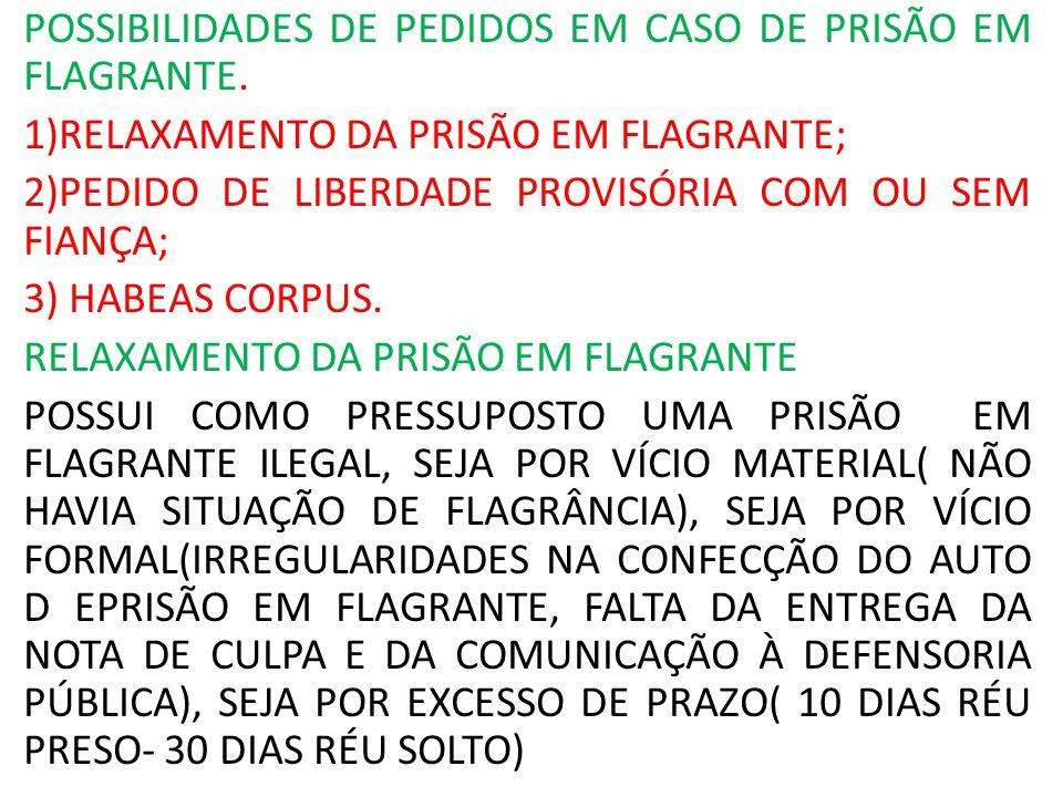 POSSIBILIDADES DE PEDIDOS EM CASO DE PRISÃO EM FLAGRANTE.