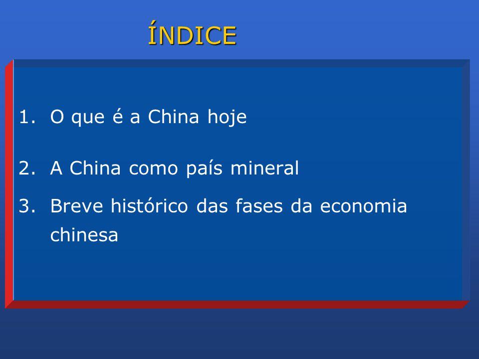 ÍNDICE O que é a China hoje A China como país mineral