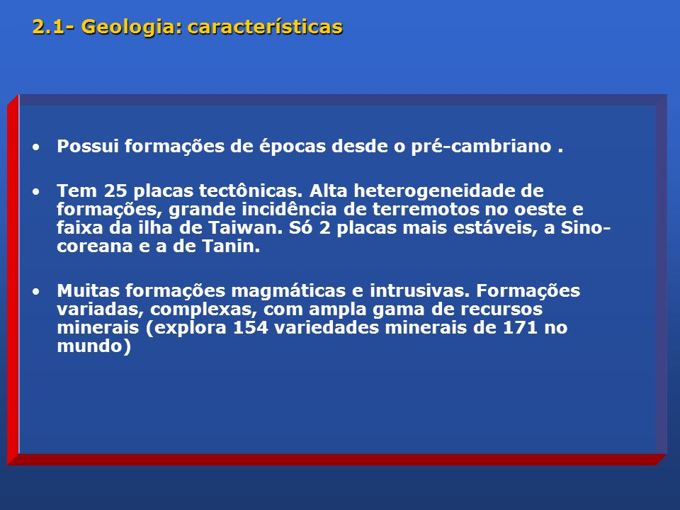2.1- Geologia: características