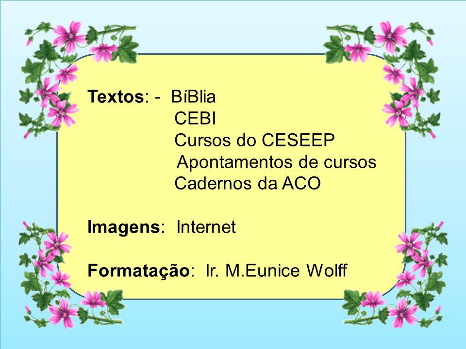 Textos: - BíBlia CEBI. Cursos do CESEEP. Apontamentos de cursos. Cadernos da ACO. Imagens: Internet.