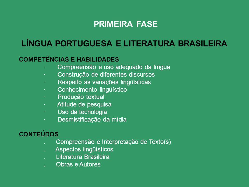 LÍNGUA PORTUGUESA E LITERATURA BRASILEIRA PRIMEIRA FASE