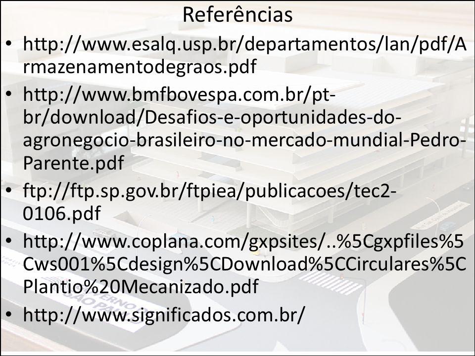 Referências http://www.esalq.usp.br/departamentos/lan/pdf/Armazenamentodegraos.pdf.