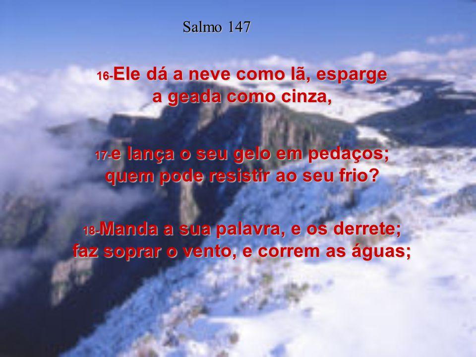 Salmo 147 16-Ele dá a neve como lã, esparge a geada como cinza,