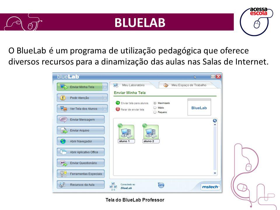 BLUELAB O BlueLab é um programa de utilização pedagógica que oferece diversos recursos para a dinamização das aulas nas Salas de Internet.