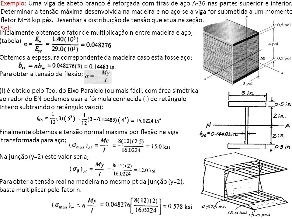 Exemplo: Uma viga de abeto branco é reforçada com tiras de aço A-36 nas partes superior e inferior. Determinar a tensão máxima desenvolvida na madeira e no aço se a viga for submetida a um momento fletor M=8 kip.pés. Desenhar a distribuição de tensão que atua na seção.