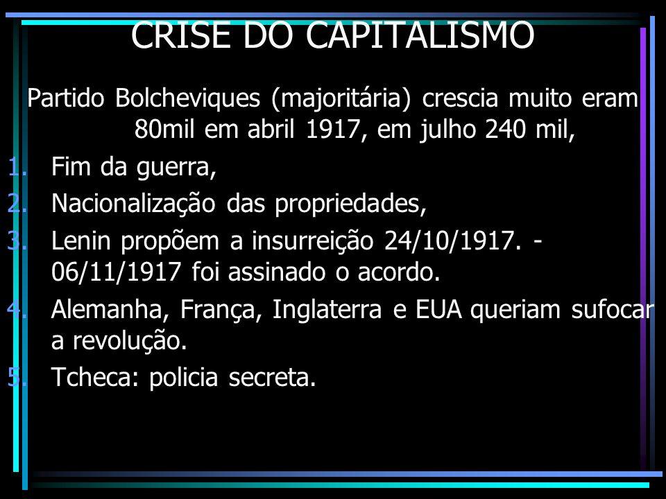 CRISE DO CAPITALISMO Partido Bolcheviques (majoritária) crescia muito eram 80mil em abril 1917, em julho 240 mil,