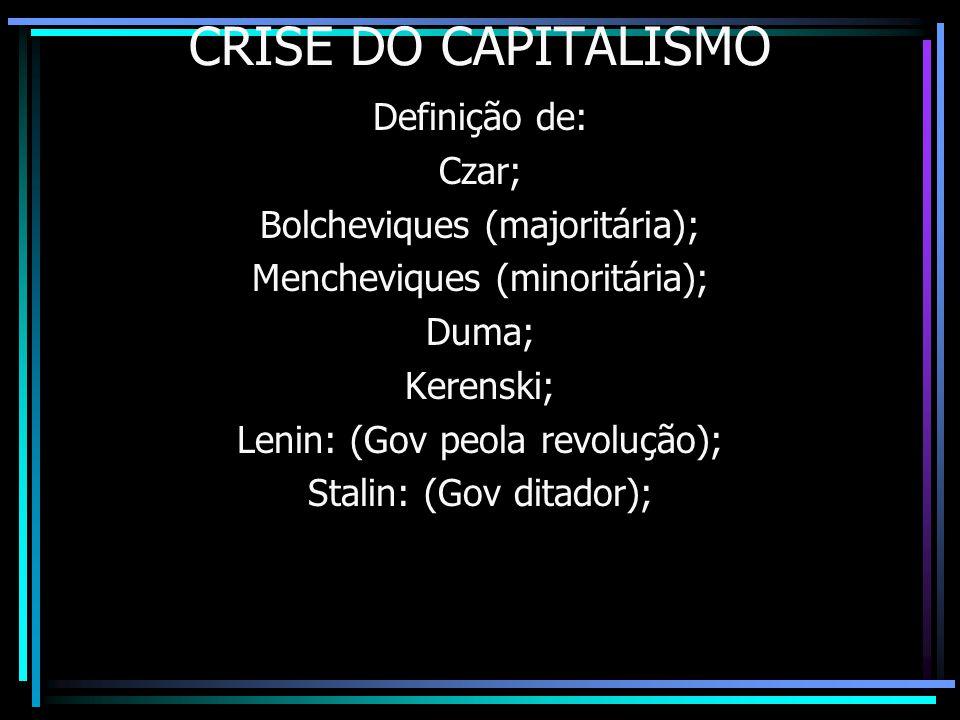 CRISE DO CAPITALISMO Definição de: Czar; Bolcheviques (majoritária);