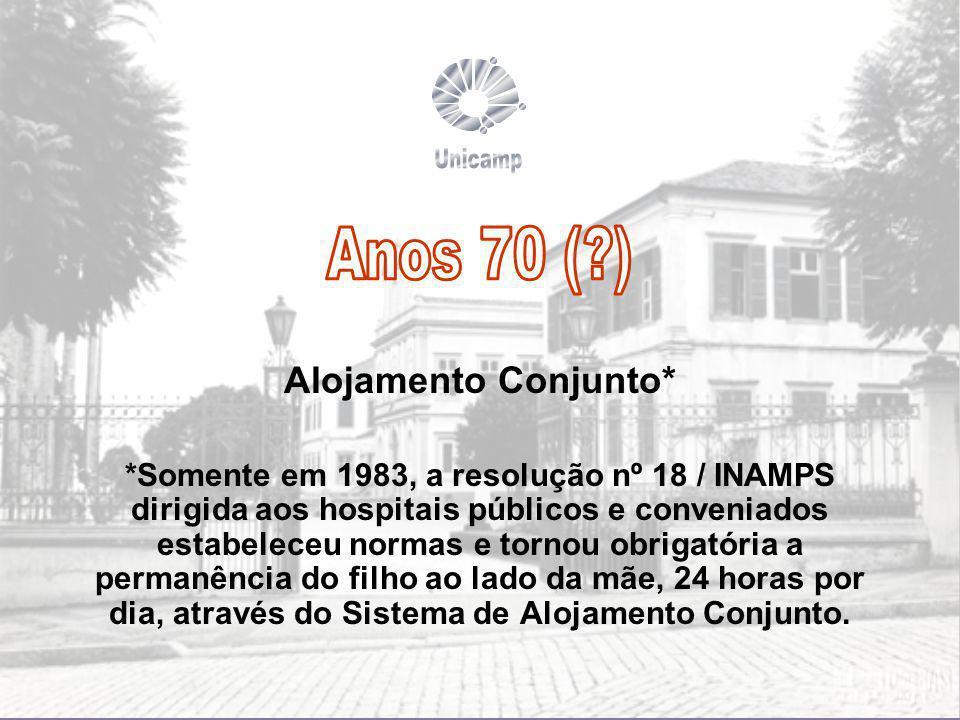 Unicamp Anos 70 ( ) Alojamento Conjunto*