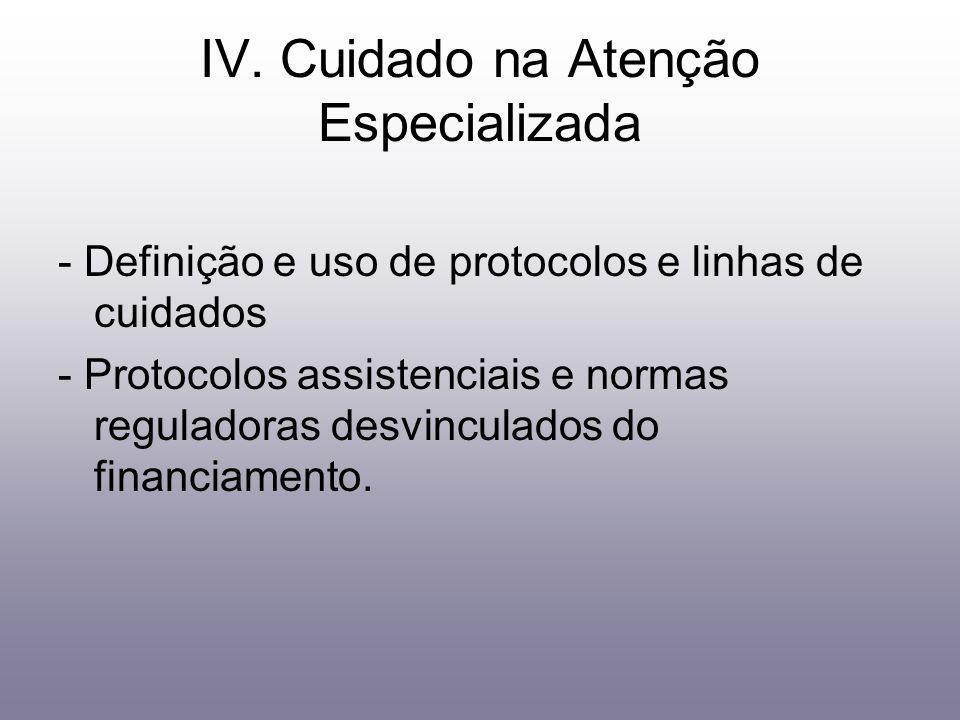IV. Cuidado na Atenção Especializada