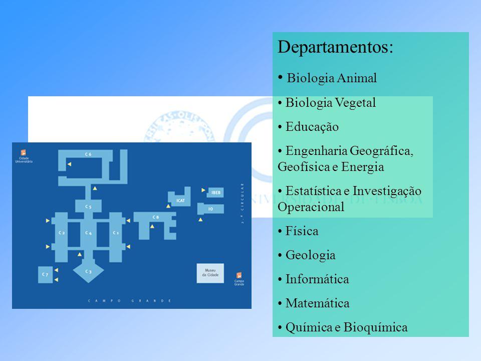 Departamentos: Biologia Animal Biologia Vegetal Educação