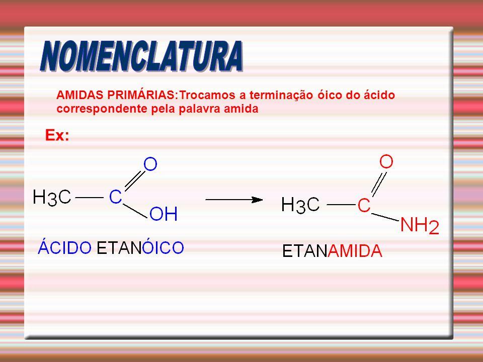 NOMENCLATURA AMIDAS PRIMÁRIAS:Trocamos a terminação óico do ácido correspondente pela palavra amida.