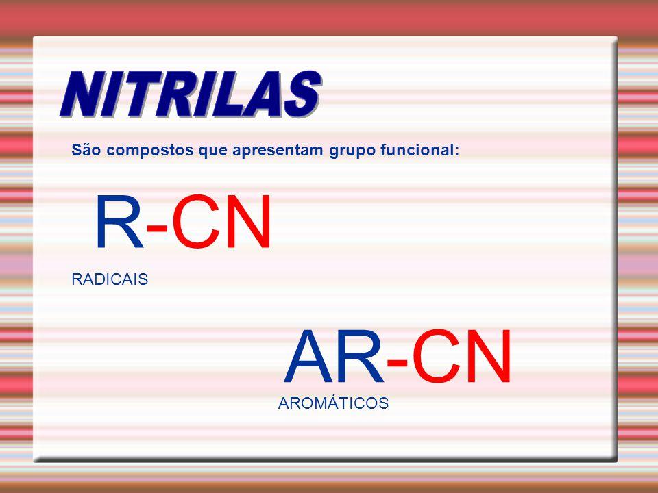 R-CN AR-CN NITRILAS São compostos que apresentam grupo funcional: