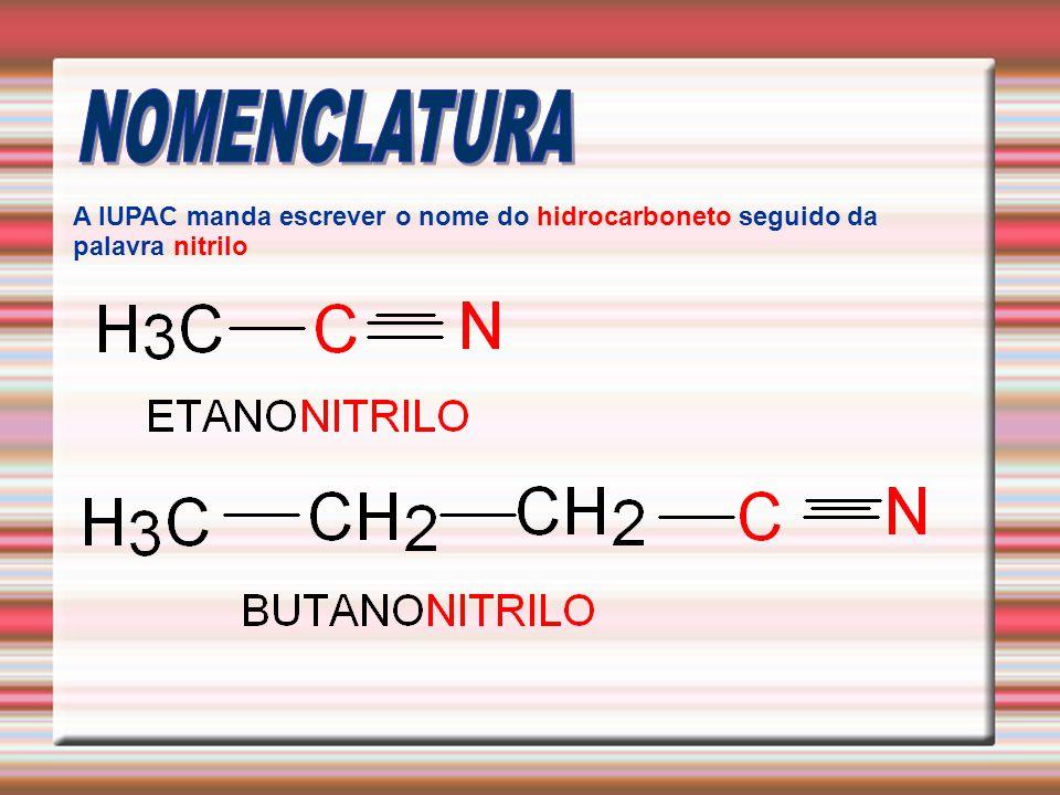 NOMENCLATURA A IUPAC manda escrever o nome do hidrocarboneto seguido da palavra nitrilo