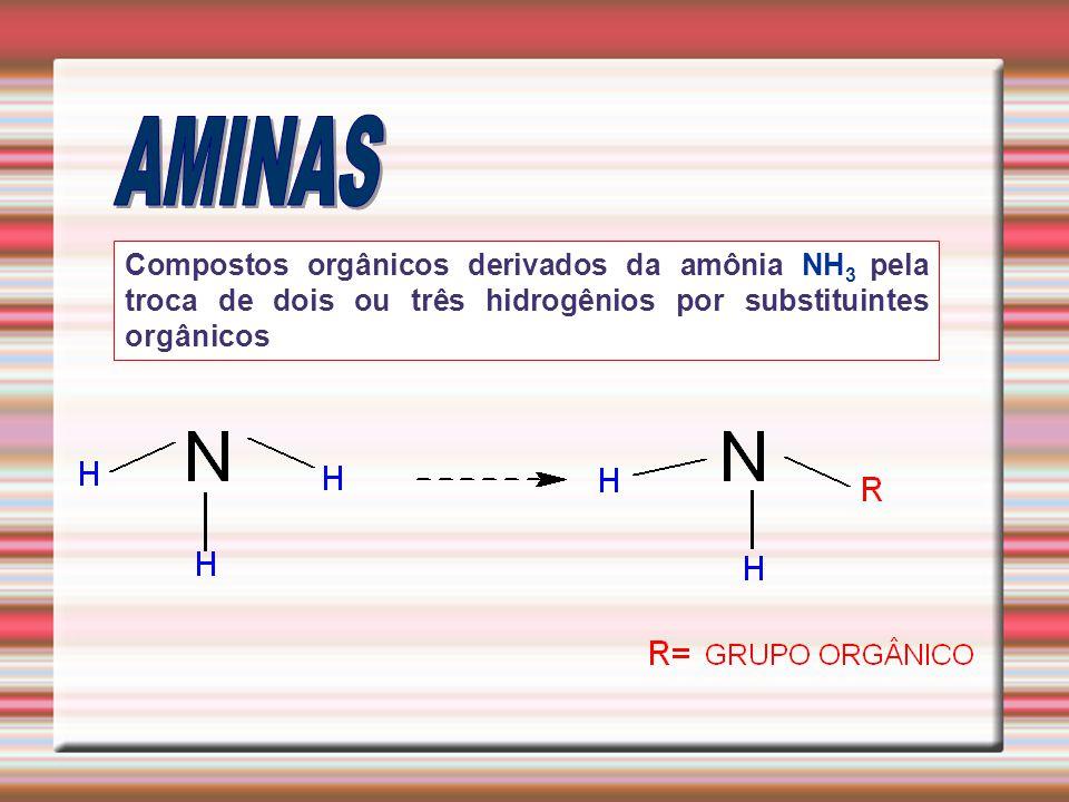 AMINAS Compostos orgânicos derivados da amônia NH3 pela troca de dois ou três hidrogênios por substituintes orgânicos.