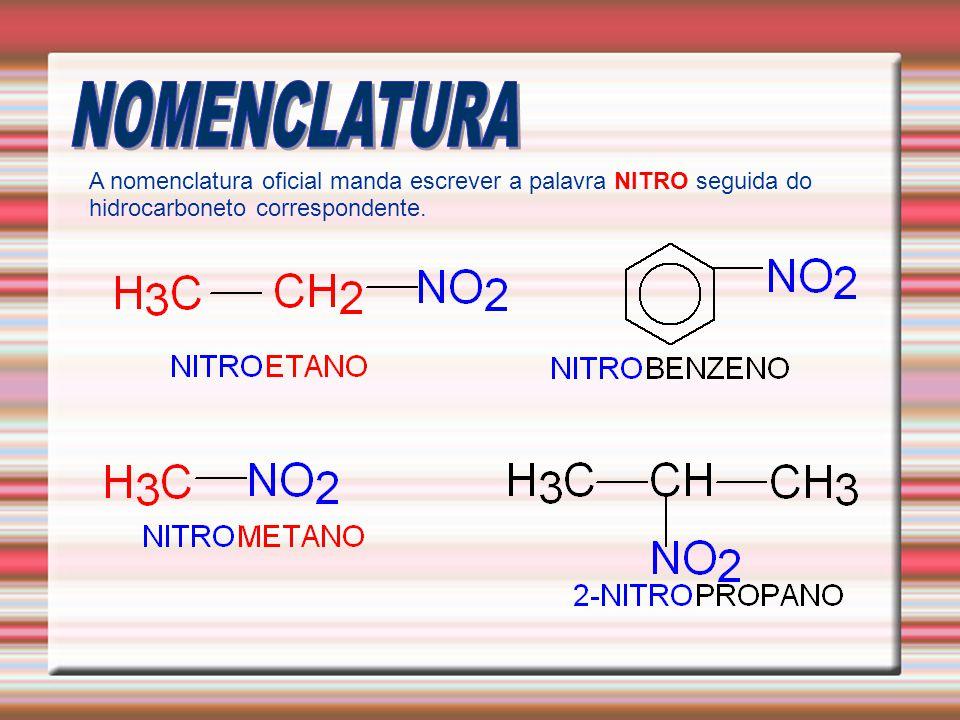 NOMENCLATURA A nomenclatura oficial manda escrever a palavra NITRO seguida do hidrocarboneto correspondente.